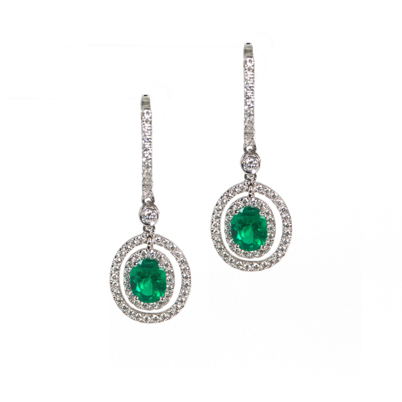 Emerald Diamond Halo Drop Earrings