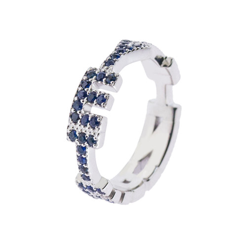 Maria Cina Personalized Ring | White Gold & Blue Sapphire