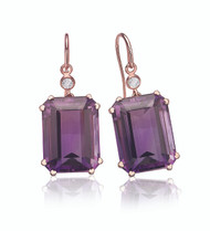 Amethyst Earrings in Rose Gold