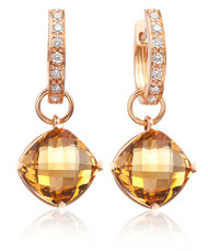 Citrine Earrings on Hoops