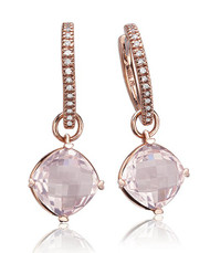 Lisa Nik Rose Quartz Drops on Heart Hoops