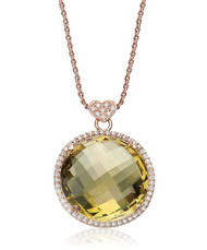 Lisa Nik Round Lemon Quartz Pendant