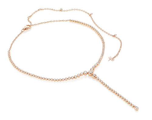 Casato Diamond Bezel Lariat Necklace in Rose Gold