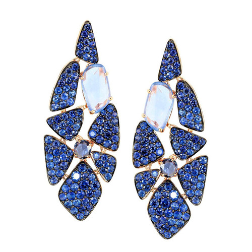 Etho Maria Blue Sapphire Earrings with Rose Cuts