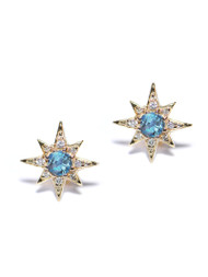 Anzie Mini Aztec Starburst Studs | Blue Topaz Earrings