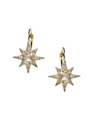 Mini Aztec Starburst Drops - Clear Topaz & Gold
