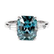 Bluish Green Sapphire Engagement Ring
