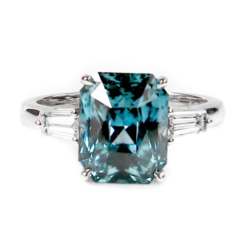 Bluish Green Sapphire Engagement Ring Sapphire