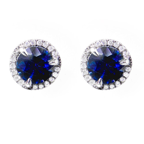 Blue Sapphire Studs with Diamond Halo
