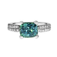 Green Blue Sapphire Engagement Ring