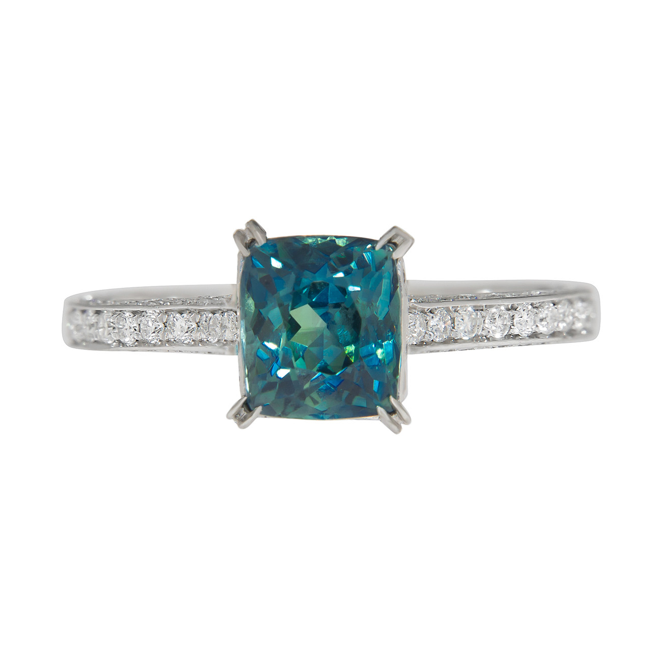 df0151a43d302 Greenish Blue Sapphire Engagement Ring