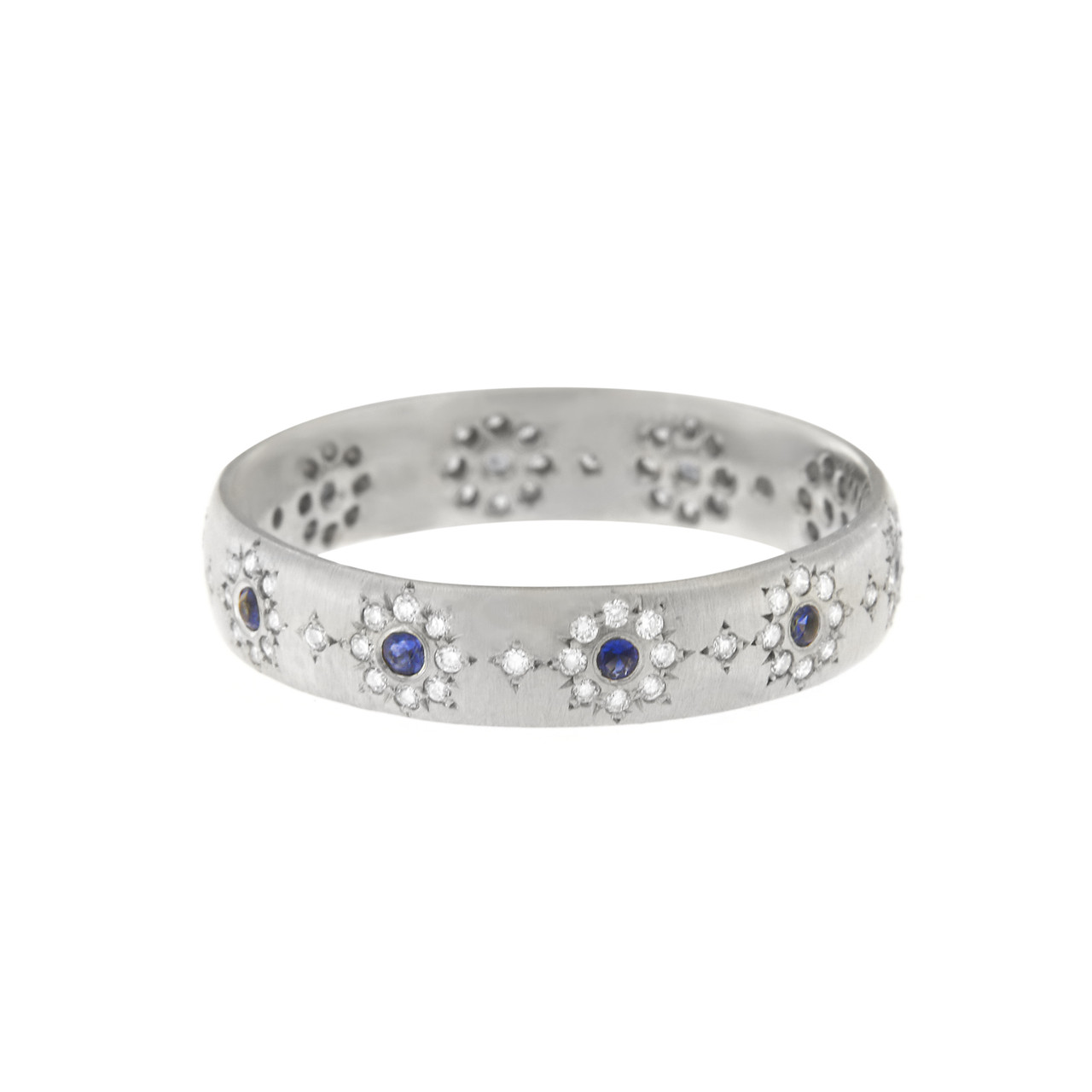 Unique Wedding Bands.Sapphire And Diamond Shimmer Wedding Band