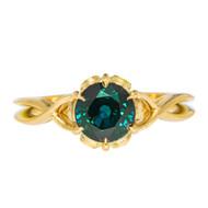 Greenish Blue Sapphire Braided Engagement Ring