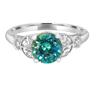 Teal Vintage Style Sapphire Engagement Ring
