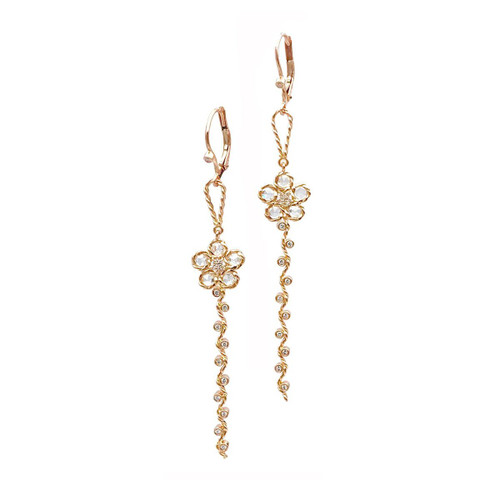 Flower Rose Cut Diamond Detachable Earrings