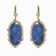 Opal Earrings with Sapphires