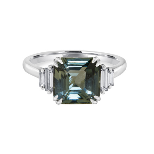 Emerald Cut Teal Sapphire Ring