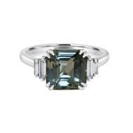Emerald Cut Teal Sapphire