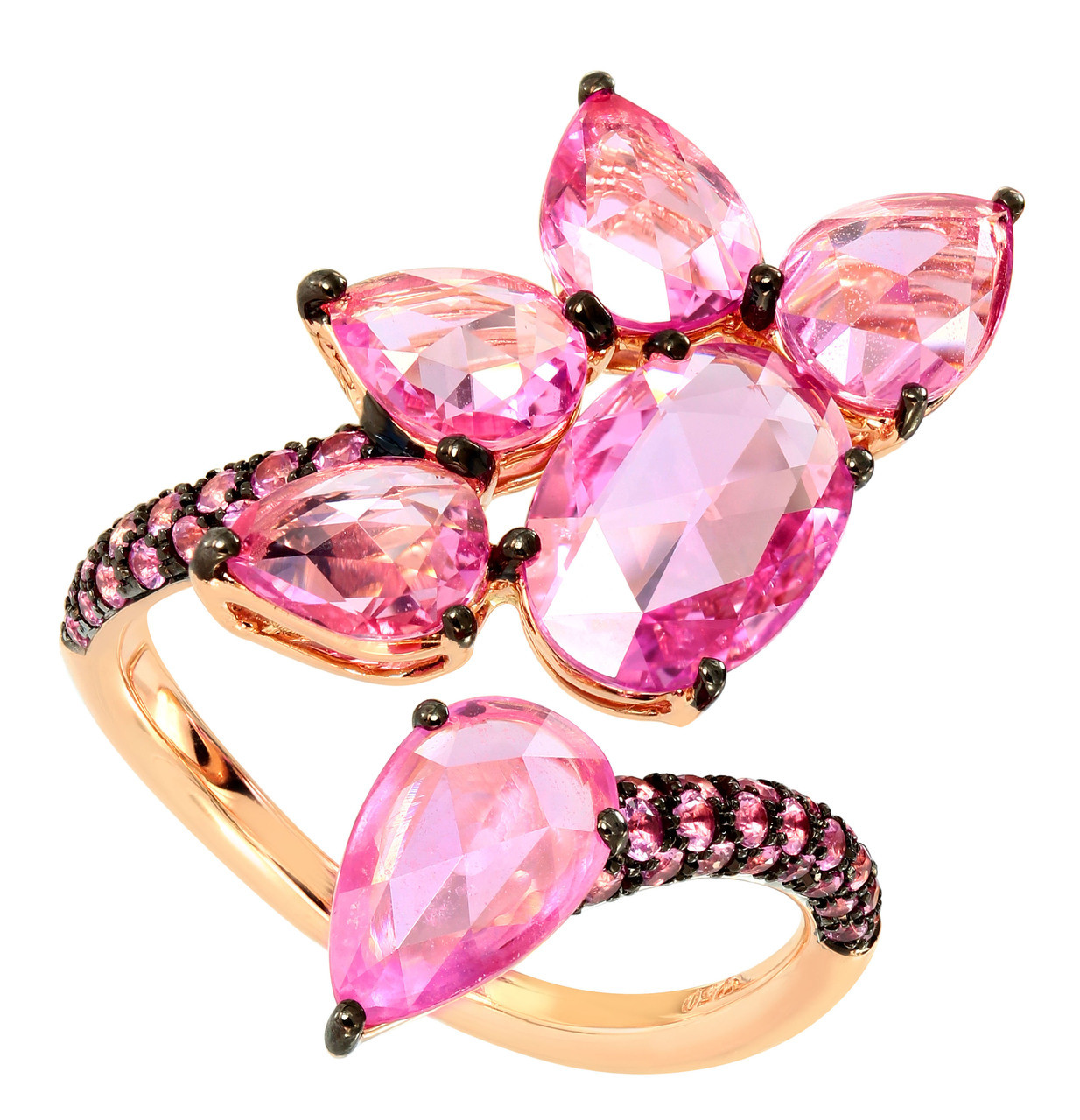 d2693d2c45deb Pink Sapphire Floral Cocktail Ring