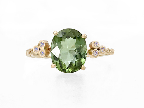 Green Tourmaline Twist Ring