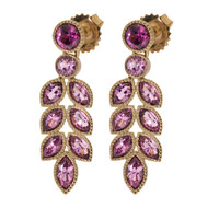 Pink Malaya Garnet Earrings Leaf Earrings