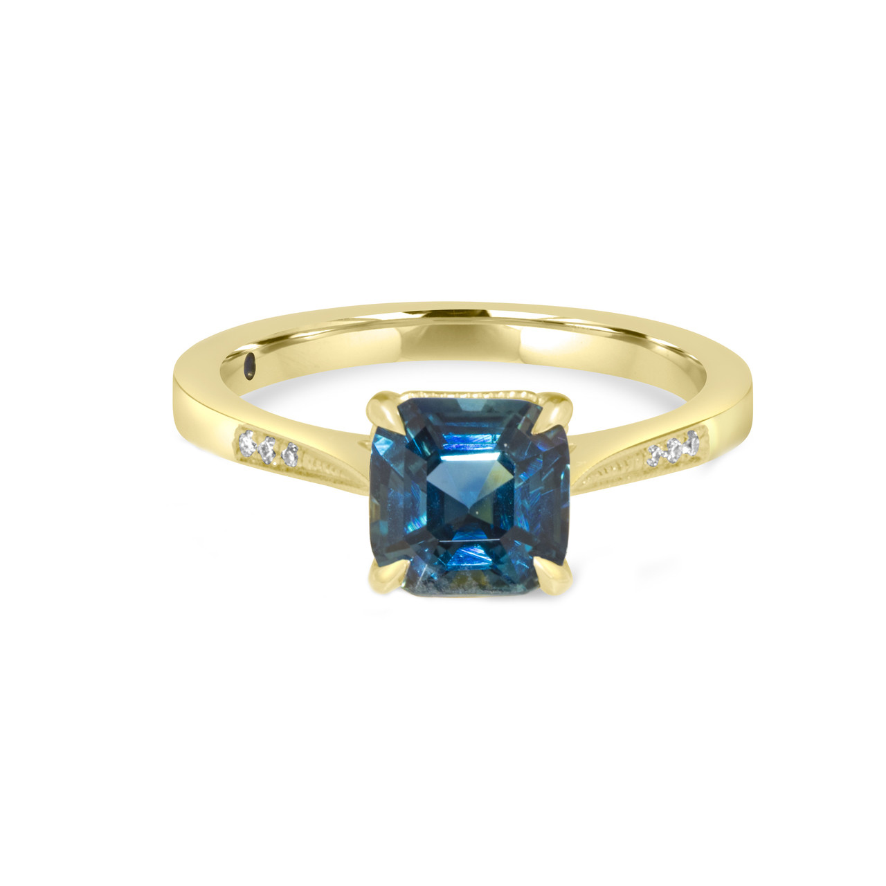 Sapphire Wedding Rings.Cushion Teal Sapphire Ring In Yellow Gold