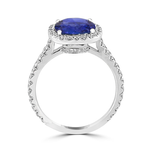 Blue Sapphire Diamond Halo Ring- side