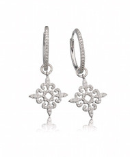 Filigree Diamond Charm Hoops
