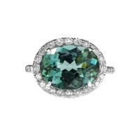 Indicolite Tourmaline Halo Diamond Ring