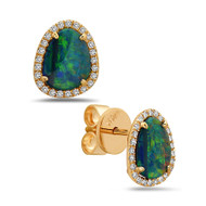 Opal Studs with Diamond Halo