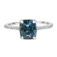 Teal Sapphire Engagement Ring
