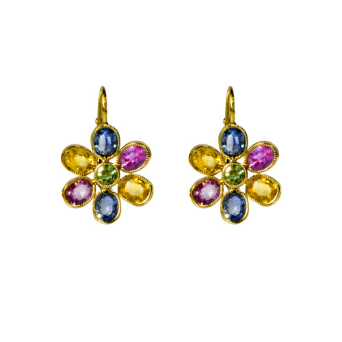 Multi Color Sapphire  Flower Earrings