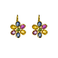 Multi Color Sapphire  Flower Earrings