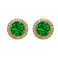 Emerald Studs with Diamond Halo