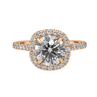 Rose Gold Engagement Ring with Cushion Halo