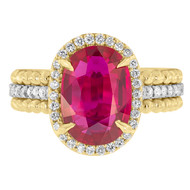 Oval Ruby Engagement Ring with Beaded Band