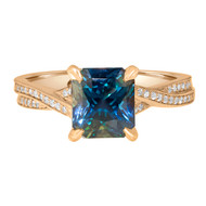 Teal Sapphire Engagement Ring Braided Band