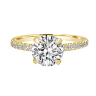 Solitaire Diamond Engagement Ring Pave Band Yellow Gold