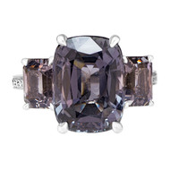 Purple Gray Spinel Three Stone Ring