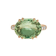 Green Sapphire Rose Gold Ring