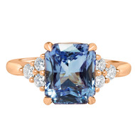 Radiant light blue sapphire ring rose gold