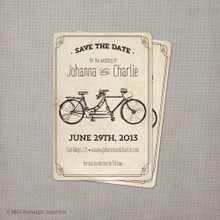 Tandem Bicycle 2 - 4x6 Vintage Save the Date Card
