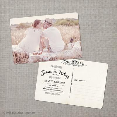 Jessa 1 - 4x6 Vintage Photo Save the Date Postcard card