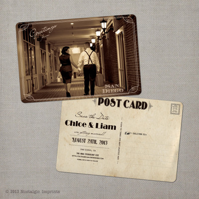 Chloe - 4x6 Vintage Photo Save the Date Postcard card