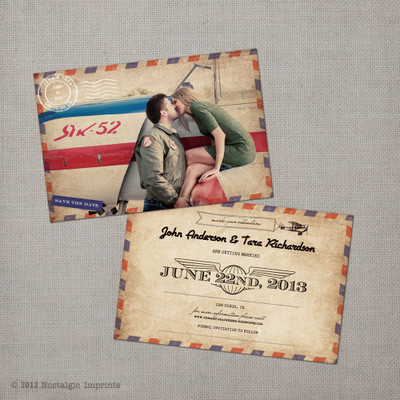 Tara 2 - 4x6 Airmail Photo Save the Date Card vintage