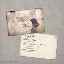 Melissa 1 - 4x6 Vintage Photo Save the Date Postcard card