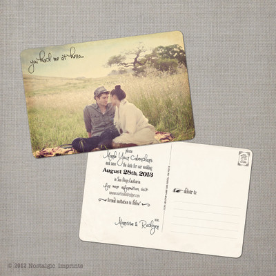 Marissa 1 - 4x6 Vintage Photo Save the Date Postcard card