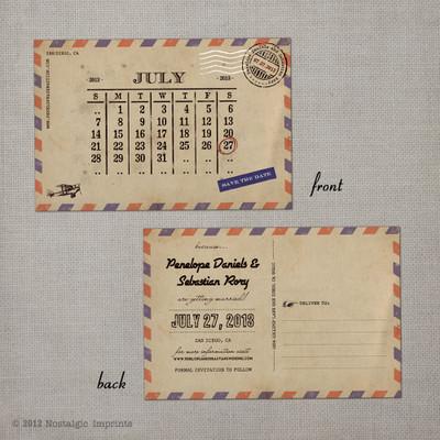 Airmail 3 - 4x6 Vintage Save the Date Postcard calendar card