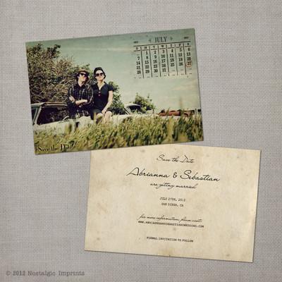 Abrianna - 4x6 Vintage Photo Save the Date Card calendar