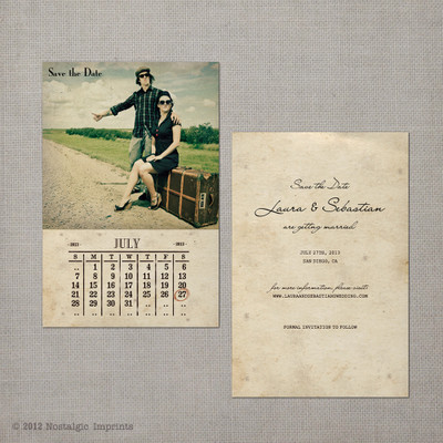 Laura - 4x6 Vintage Photo Save the Date Card calendar
